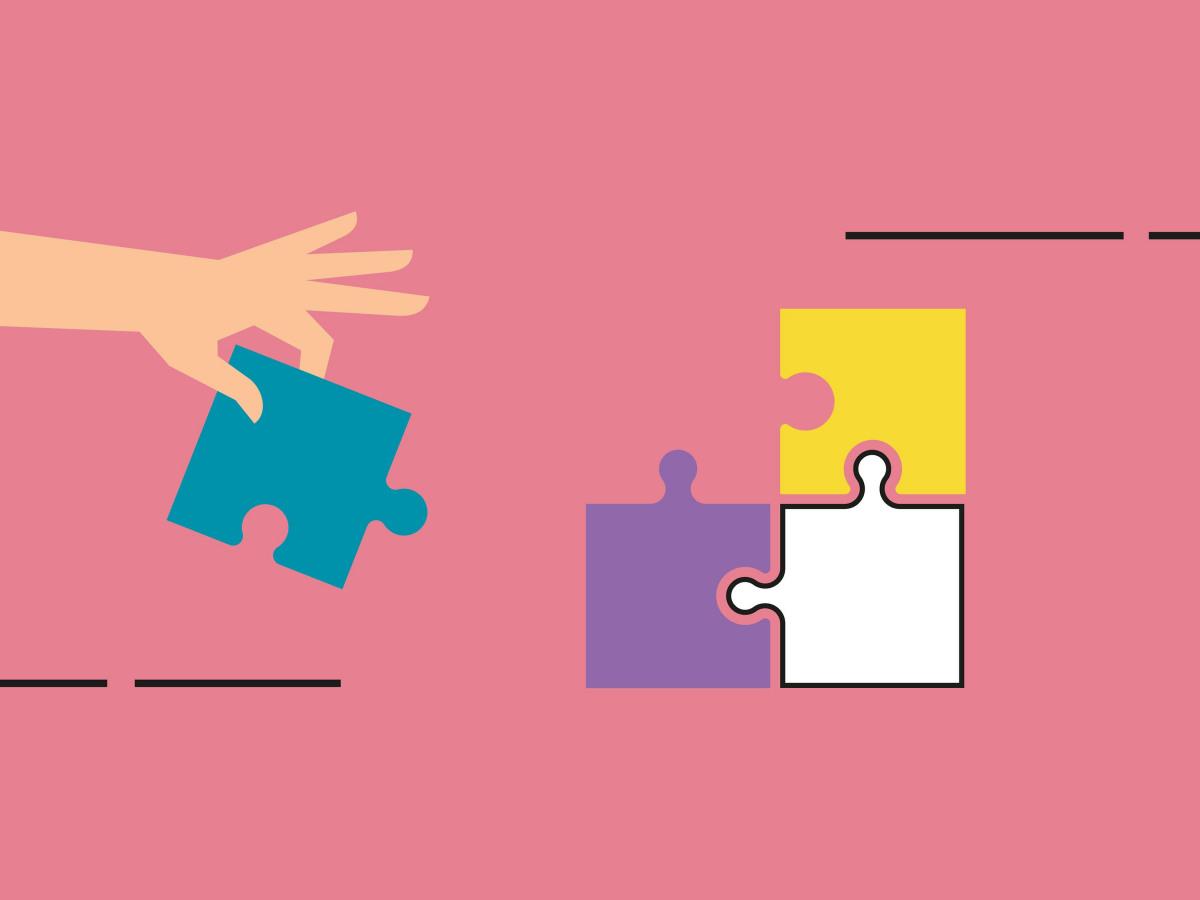 Softwarelösungen: Grafik einer Hand, die ein Puzzlestück einfügt