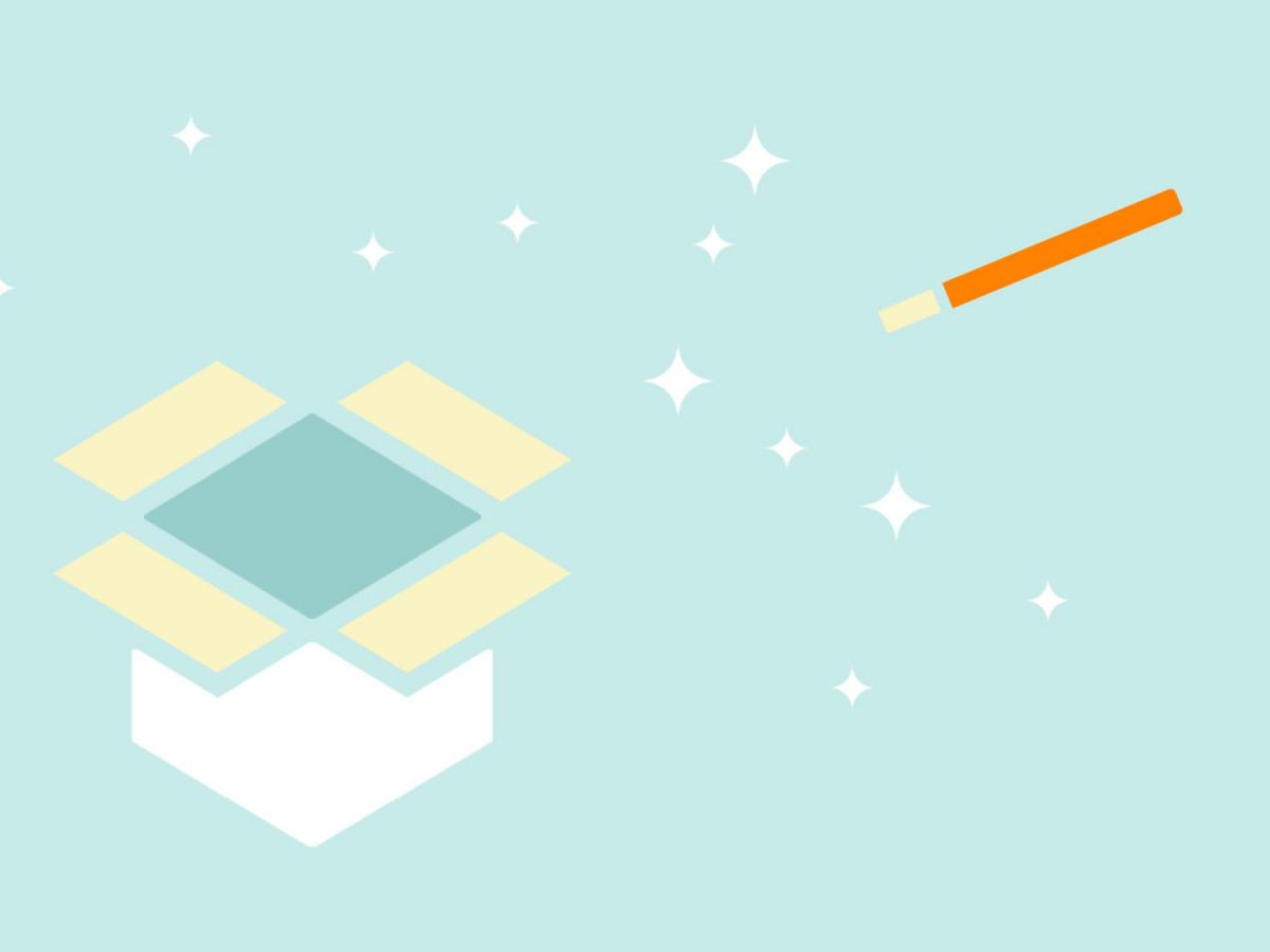 Unsere Softwarelösungen: Grafik einer offenen Box sowie eines Zauberstabes