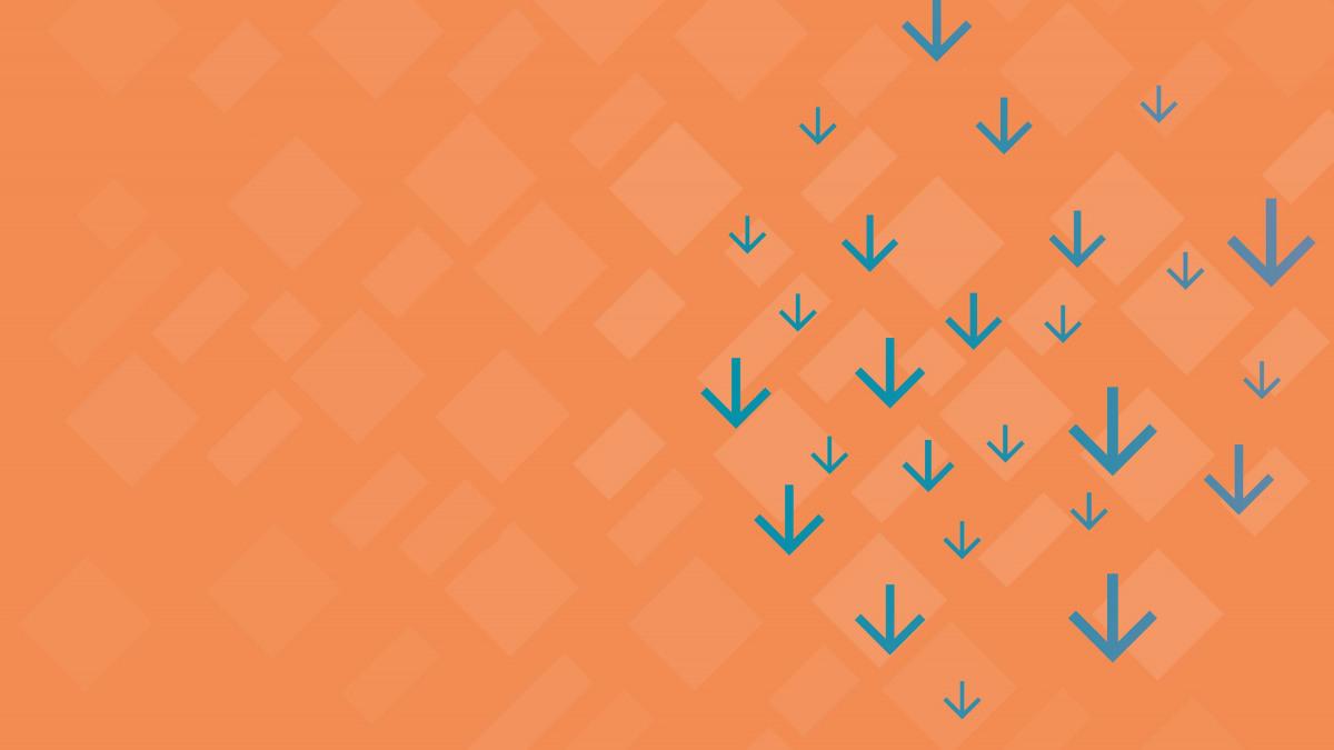 Download-Center: Petrolfarbene Pfeile auf orangenem Hintergrund