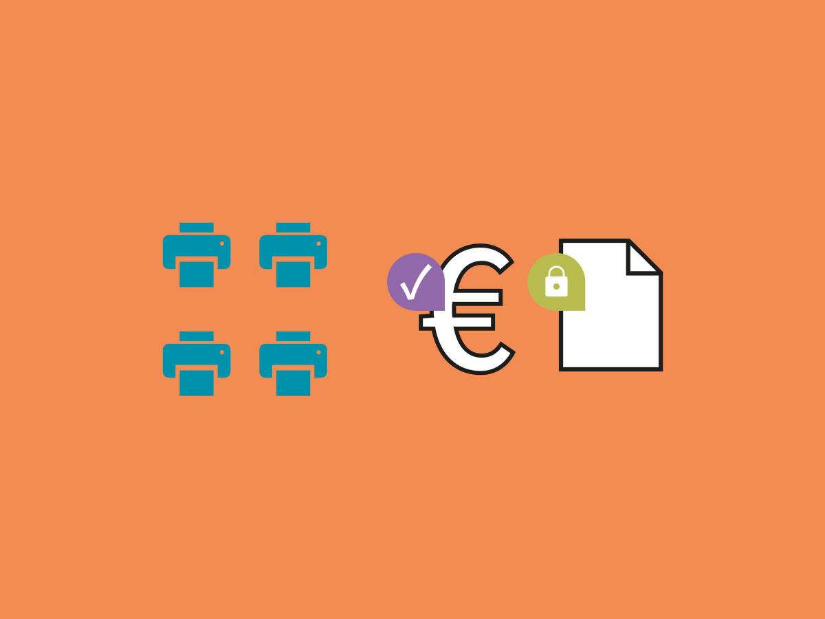 Softwarelösung: Sicherheit und Kostenübersicht über die Drucksysteme in einer Grafik dargestellt